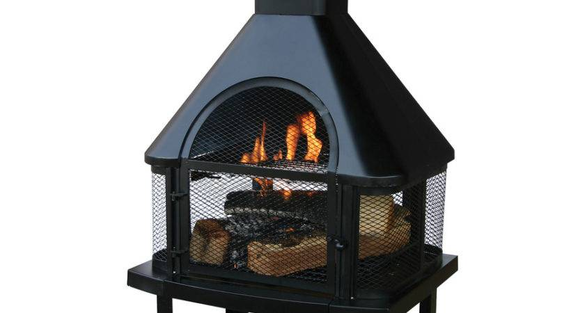 Shop Black Steel Outdoor Wood Burning Fireplace Lowes