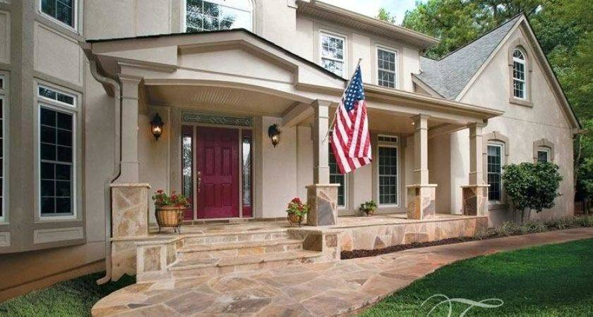 Stamped Concrete Front Porch Rocking Chairs Bench