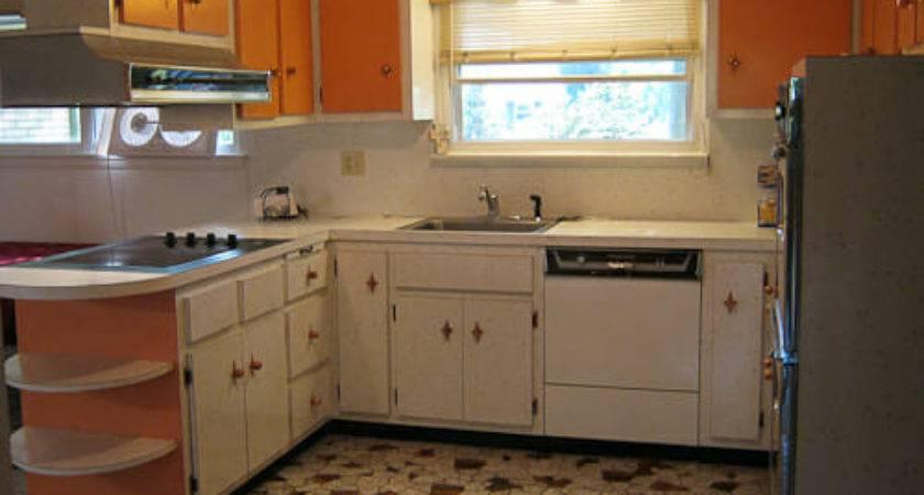 Starburst White Orange Laminate Kitchen Retro