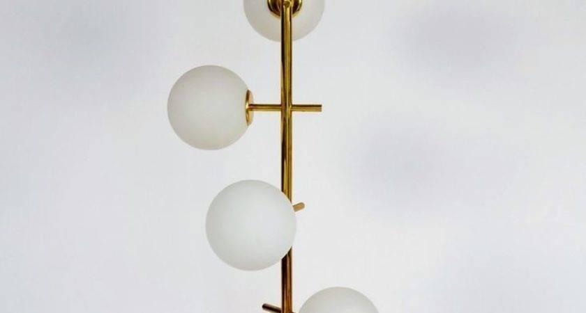 Swiss Brass Frosted Glass Globes Floor Lamp Temde