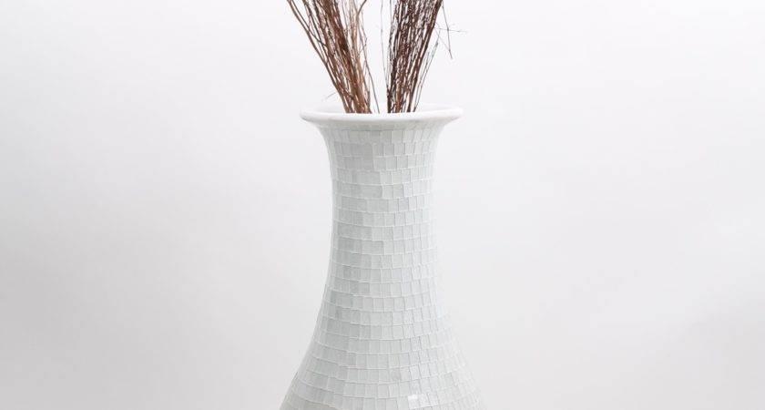 Tall Floor Vase Glass Mosaic Ceramic White