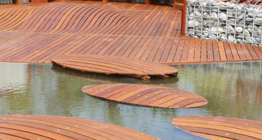 Terrace Gardens Creative Floating Wood Pathway Ideas