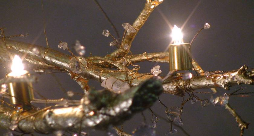 Tree Branch Crystal Chandelier Gold Leaf Natural