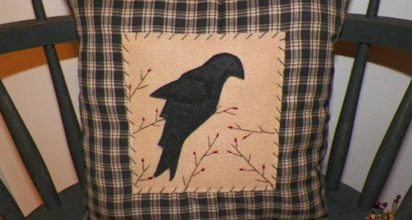Unstuffed Primitive Crow Pillow Cover Decor Country