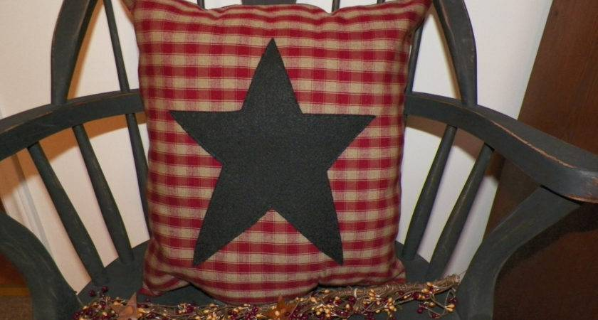 Unstuffed Primitive Pillow Cover Barn Star Country Red Khaki