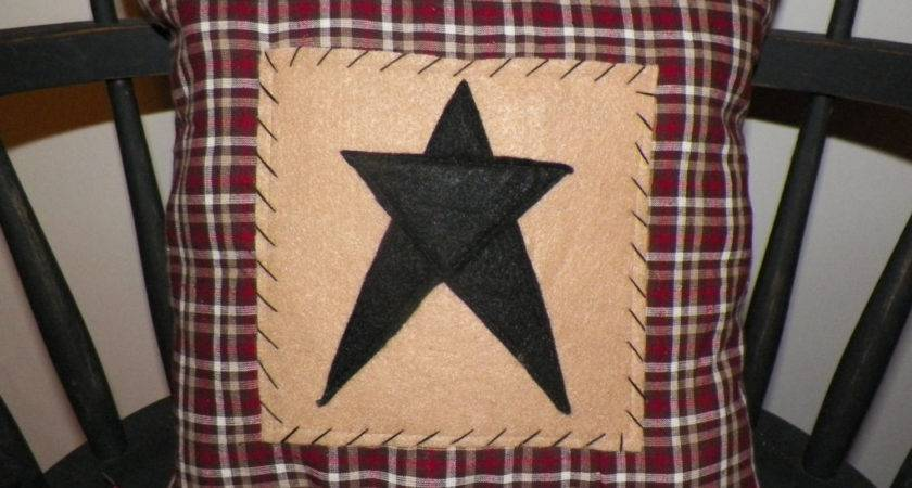 Unstuffed Primitive Pillow Cover Barn Star Prim Country Home