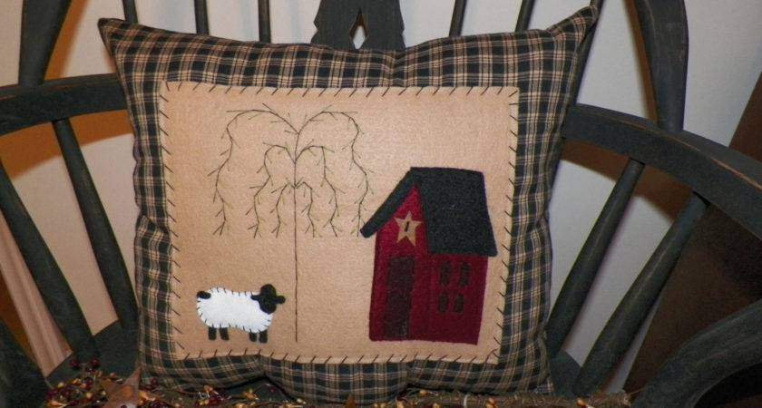 Unstuffed Primitive Pillow Cover Saltbox House Sheep Willow