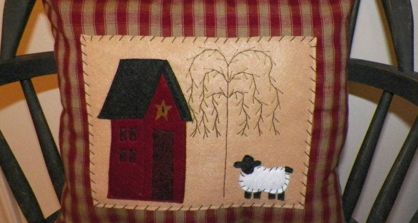 Unstuffed Primitive Pillow Cover Saltbox House Wvluckygirl
