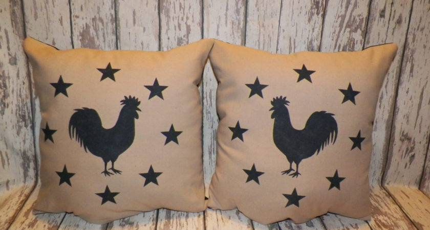 Unstuffed Primitive Pillow Cover Sofa Set Chicken Rooster