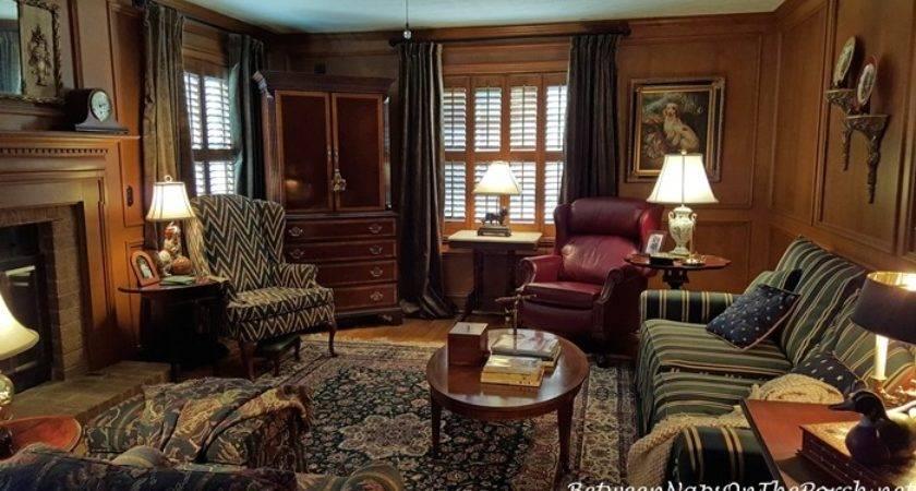 Velvet Drapes Paneled English Country Style Living Room