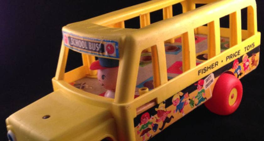 Vintage Fisher Price Wooden School Bus Pull Toy