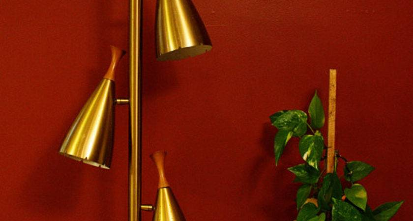 Vintage Lamp Pole Tension Gold Oldcottonwood