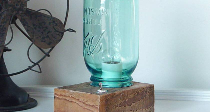 Vintage Mason Jar Table Top Lamp