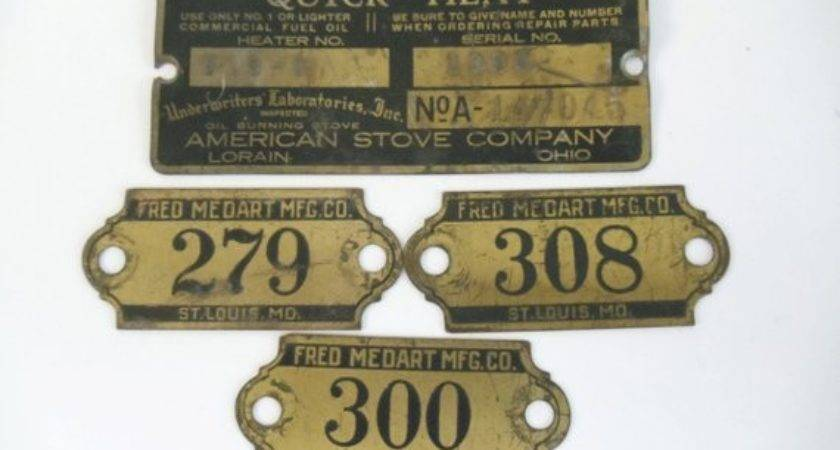 Vintage Metal Brass Numbers Advertising Black