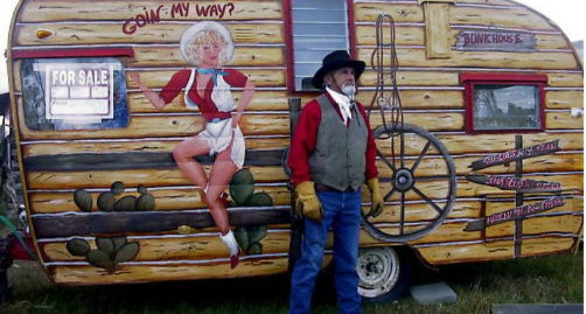 Vintage Painted Cowgirl Western Shasta Trailer