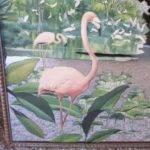 Vintage Pink Flamingo Mirror Wall Hanging