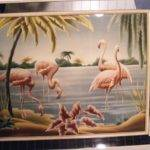 Vtg Mid Century Turner Mirror Frame Flamingo Print