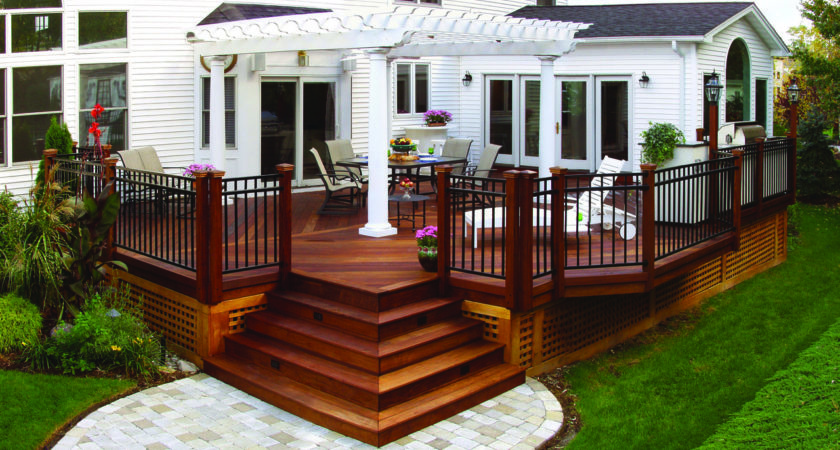 Wood Deck Pergola Paver Walkway Archadeck