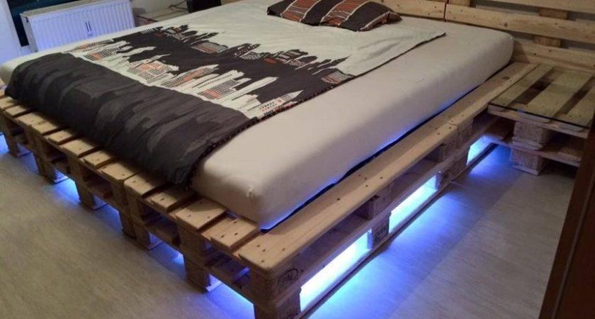 Wood Pallet Bed Frame Lights