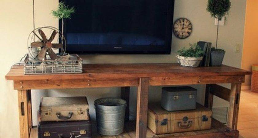Wooden Stand Pallet Inspired Eclectic Living Room