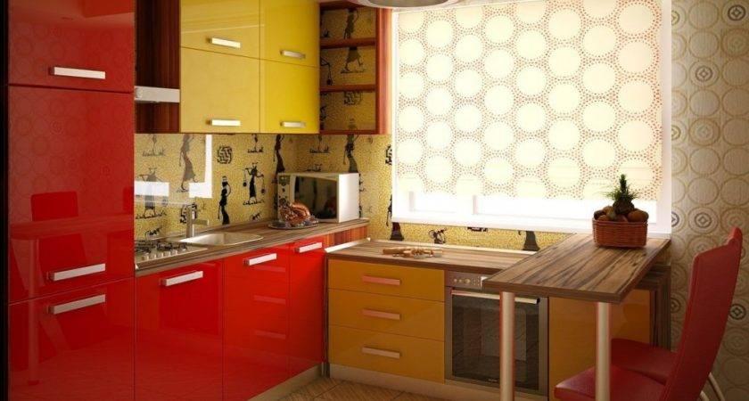 Yellow Red Kitchen Interior Design Ideas
