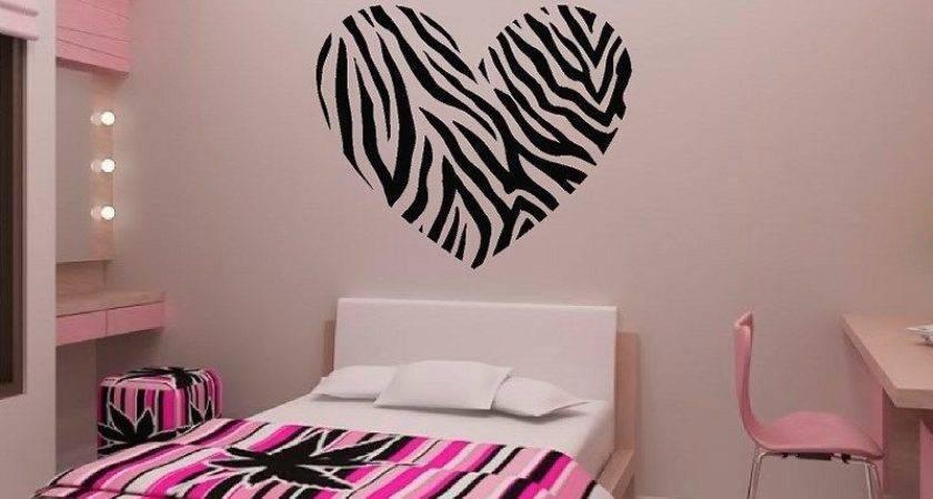 Zebra Stripe Heart Vinyl Wall Decal Sticker Print Ebay